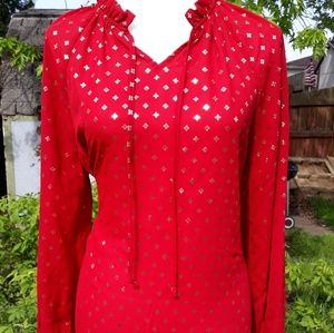 Time and Tru red and gold womens blouse